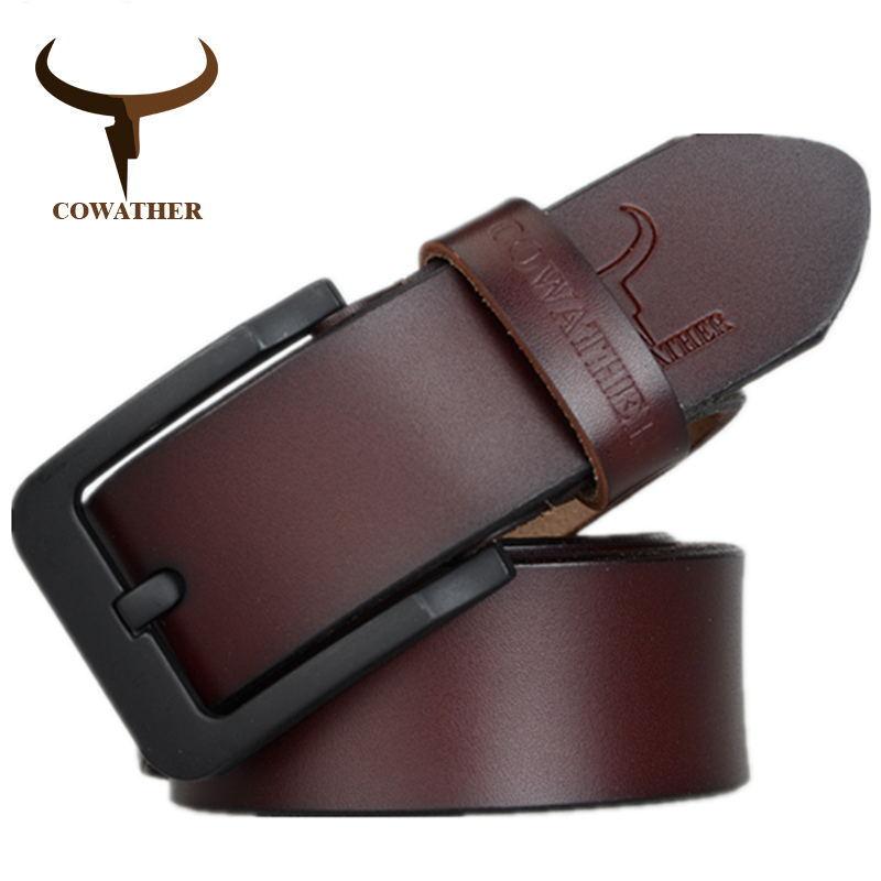 COWATHER männlich gürtel für mens hohe qualität kuh echtes leder gürtel 2018 heißer verkauf strap mode neue jeans Schwarz Schnalle XF010