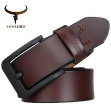 COWATHER male belt for mens high quality cow genuine leather belts 2019 hot sale strap fashion new jeans Black Buckle XF010(China)