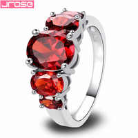 JROSE Recommended Dainty Engagement Oval Cut Red 925Silver Ring Size 6 7 8 9 10 11 12 13  Wholesale Classic Style For Women