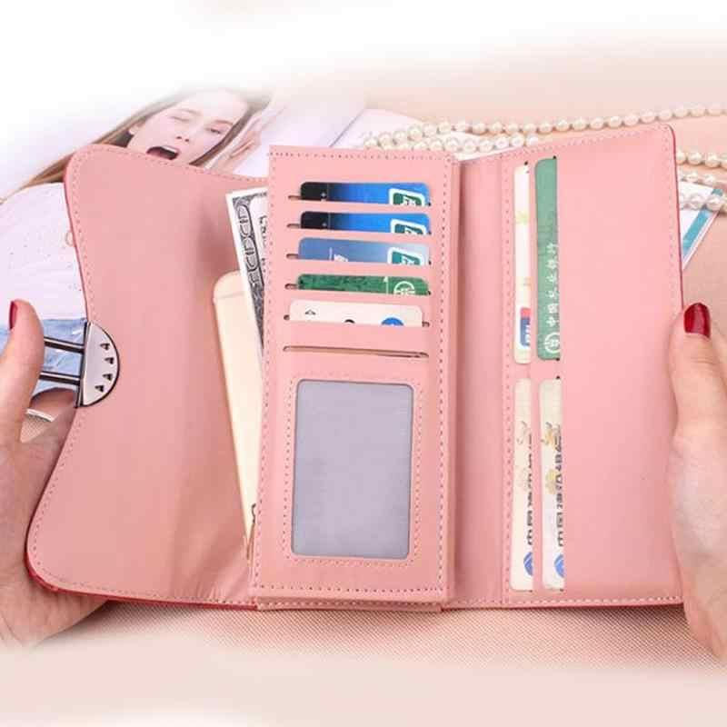 Matte PU Bolsa de Couro Das Mulheres da forma Carteira Das Mulheres Cor Sólida Dobrável Bloqueio Captura Casual Bolsas Das Senhoras Saco de Embreagem Titular do Cartão
