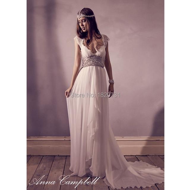 2017 Anna Campbell Beach Wedding Dress Crystal Beaded Luxury Boho Chiffon Bridal Dress Vestidos De Novia Longo Cap Sleeve V Neck