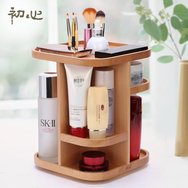 Cosmetic Wooden Rotating Storage Box Dresser Desktop Finishing Rack Wool Dermo Protector Cabinet Art Wood