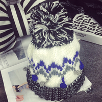 AngelBola 2017 Large Hair Ball Wool Hat Autumn Knit Hat Fight Color Winter Women Lovely