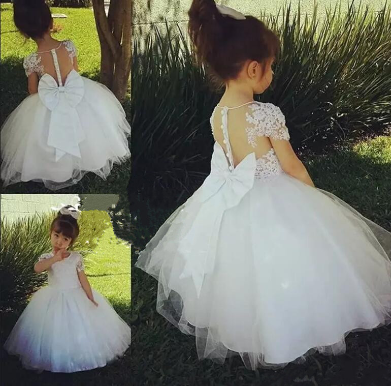 Flower Girl Dresses with Bow Short Sleeve Crystal Lace Applique First Communion Dress for Girls Customized Vestidos Longo perfect purple flowers big bow organza short sleeve slim lace crochet dress for women