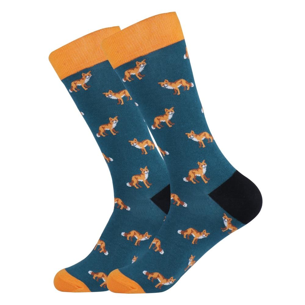 EU 38-44 Large Size Funny Men Fox Casual Socks Novelty Cute Animal Cotton Unisex Dress Sock