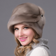 2016 new  imported mink fur hats whole mink hats women winter warm caps for women's luxury style natural mink headgear DHY-69A