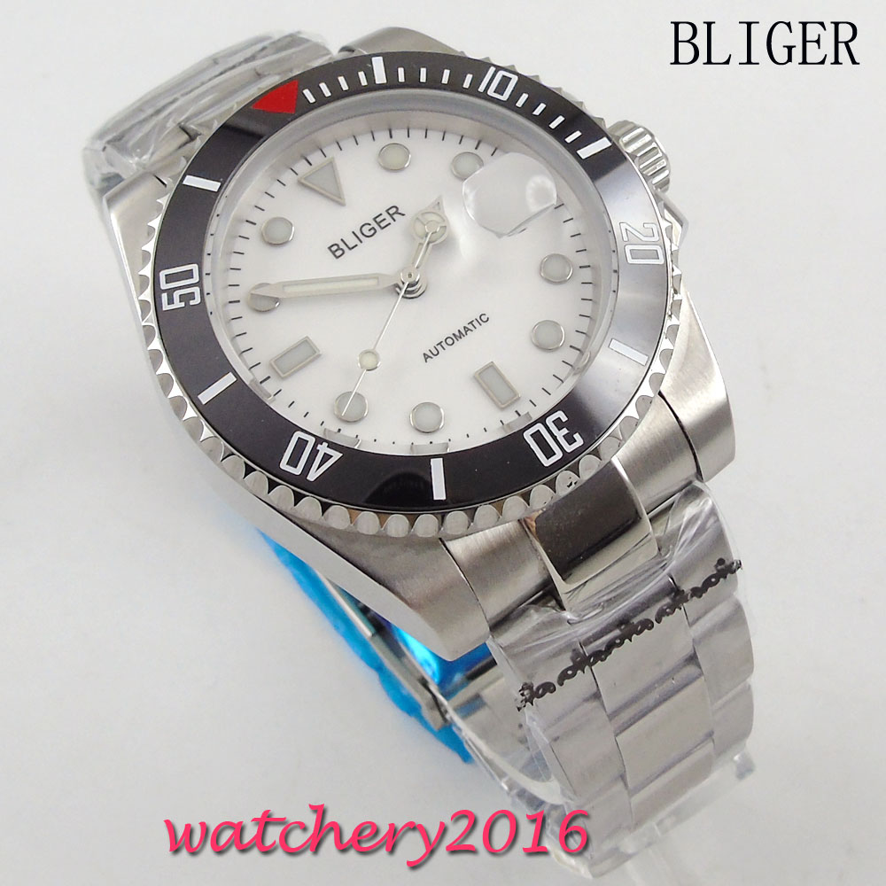 NEW Arrival 40mm BLIGER white Dial ceramic bezel Sapphire Glass Date Window Automatic Movement men's Mechanical Wristwatches