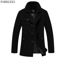 Winter Long Wool Trench Coat Men 2017 Brand New Mens Trench Coat Slim Fit Peacoat Overcoat Windbreaker Casual Men Jackets Coats