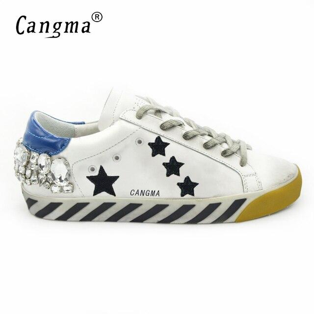 CANGMA Original Italia Marca De Lujo de Los Hombres Zapatos Superstar Cuero Genuino Zapatos Para Hombre Blanco Cristal Dismond Zapatos Hombre Estrella 2017