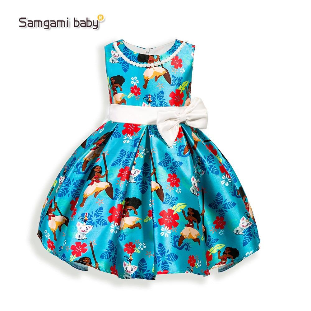 SAMGAMI BABY 2017 Summer Girls Cartoon Dream Tropical Ocean Dress Moana Dresses Baby Girls Clothing Party Kids Princess Dress