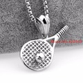 Charming Silver Cool Men's 316L Stainless Steel Tennis Ball Rocker Biker Pendant Necklace Chain Sports For Boy's Jewelry