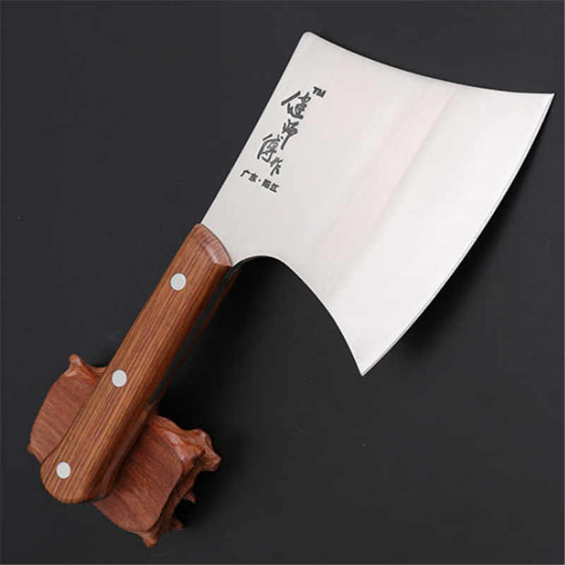 Big Thick Professional Bone Cleaver Knife Stainless Steel Wood Handle Chinese Kitchen Chef Knife Meat Beef Mutton Chicken Cutter