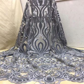 Hot Sale African Velvet Lace Fabric with Sequins Latest Nigerian Guipure Lace Material African tulle Lace Fabric for Party Dress