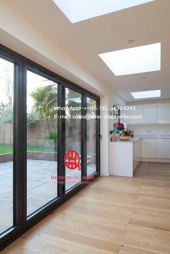 Double/Triple Glazing Tempered Glass Door,Aluminum Bi-Fold Glass Door System Smoothly Maximize The Opening Space Interior Door