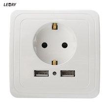 LEORY Новый 2А Стены Зарядное Устройство Адаптер ЕС Plug Разъем Питания Розетка Панель Dual USB Порт
