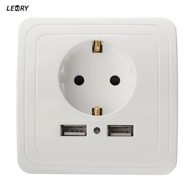 LEORY New 2A Wall Charger Adapter EU Plug Socket Power Outlet Panel ...