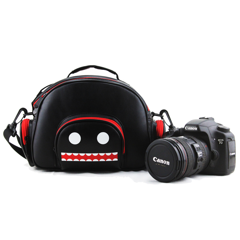 Unique Designer Cute monster Microfiber leather Camera Bag Portable Fashion Shoulder Bag for SLR Camera Canon Nikon Pentax SONY подушка 40х40 с полной запечаткой printio сад земных наслаждений