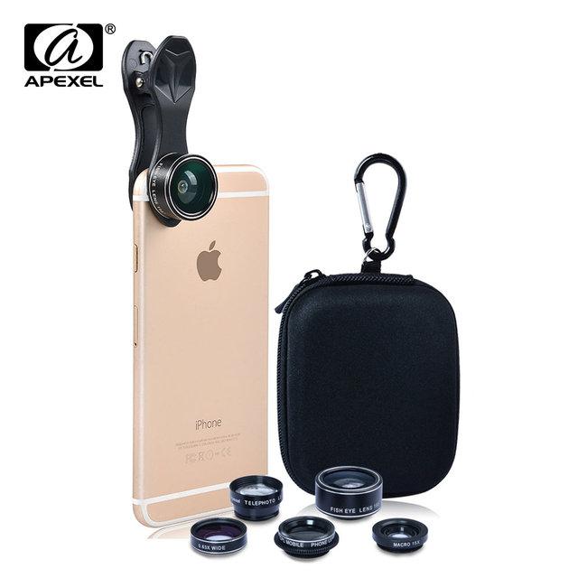 Apexel 5 en 1 hd lente de la cámara kit ojo de pez + 0.63x gran angular + 15x lente cpl + lente macro + lente teleobjetivo 2x para el iphone samsung DG5