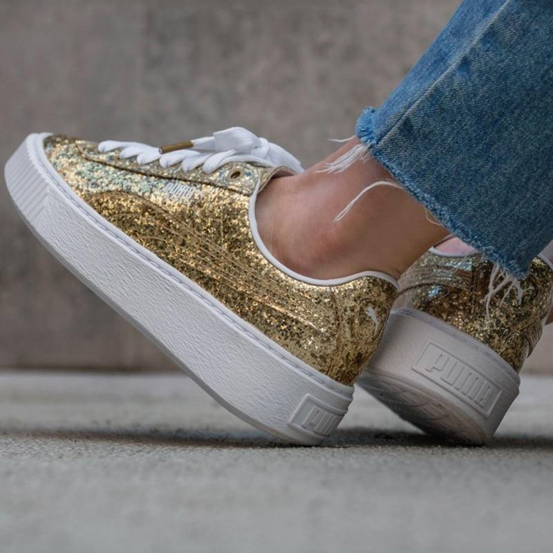 puma basket platform glitter