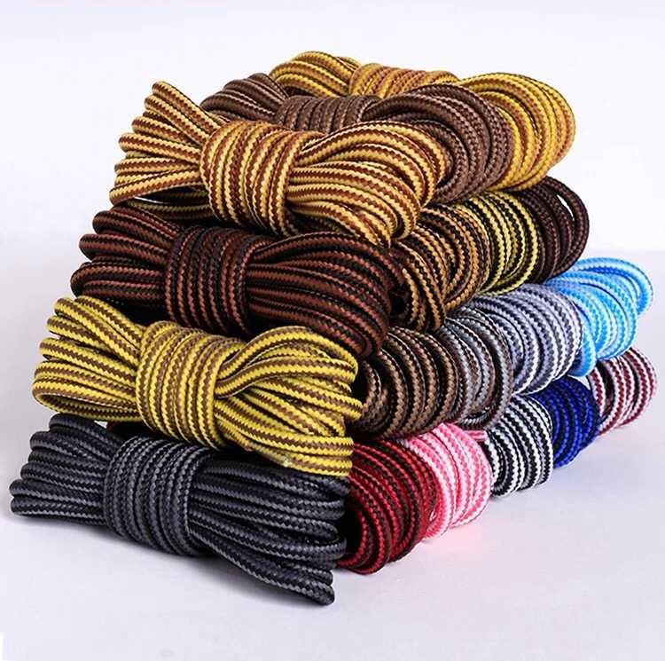 1Pair Striped Double Color Shoe laces Boots Outdoor Sport ShoeLaces Cotton Round Shoelace 18 Colors Length 70CM 90CM 120CM 150CM