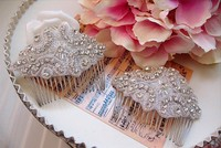 Fairy Free Shipping 2014 New Stunning Glass Crystal Beads Silver Plated Flower Haircomb For Bride