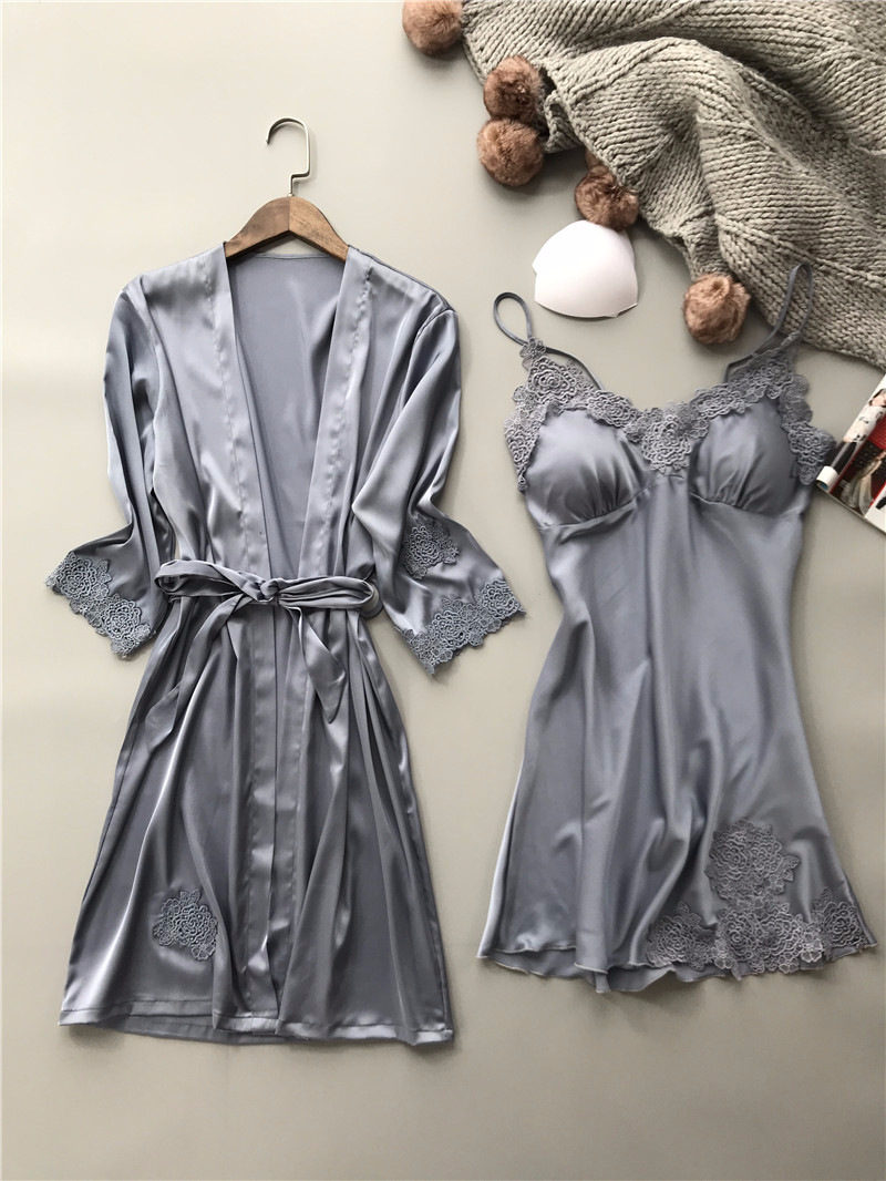 2019 Sexy Embroidery Robe Gown Set Female Satin Sleepwear Home Suit ... 5dcff6fc9