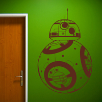 Star Wars BB-8 Wall Stickers Home decor Movie robot DIY 3D Vinyl Wall Decal Geek Gamer Removable Mural wallpaper Kids room