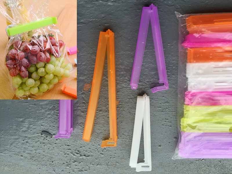 Free Shipping 20pcs Large + small Colorful Plastic Food Snack Storage Bag Clip Seal Preservative Film Sealing
