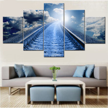 Wall Art Modern Poster HD Prints 5 Set Train Track Blue Sky White Cloud Modular Pictures Home Decor Room Scenery Canvas Painting(China)