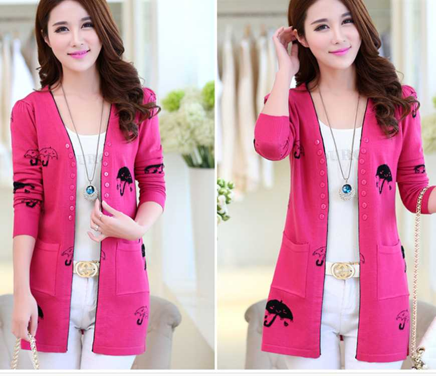 New Arrive new 2015 ladies knitted girls Cardigan slim umbrella ...