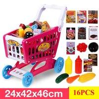 Shopping Cart Toys 16PCS Large Shopping Toys Simulation Children Supermarket Shopping Toys Vegetable Food Toy