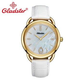 Gladster Luxury Brand Japan TMI 2035 Shell Female Watch Waterproof Leather Ladies Clock Sapphire Crystal Women Quartz Wristwatch
