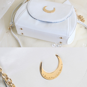Image 2 - MSMO White/Black Sailor Moon Luna/Artemis Shoulder Bag Ladies Luna Cat Leather Handbag Women Messenger Crossbody Chain Small Bag