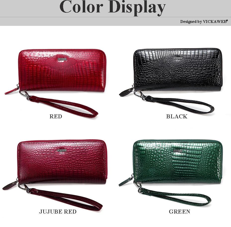 VICKAWEB Wristlet Wallet Purse Genuine Leather Wallet Female Long Zipper Women Wallets Card Holder Clutch Ladies Wallets AE38-003