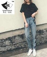 HDP025 женская мода черный Цветок вышивка джинсы девять нерегулярные длинные брюки вышивка джинсы/5 размер