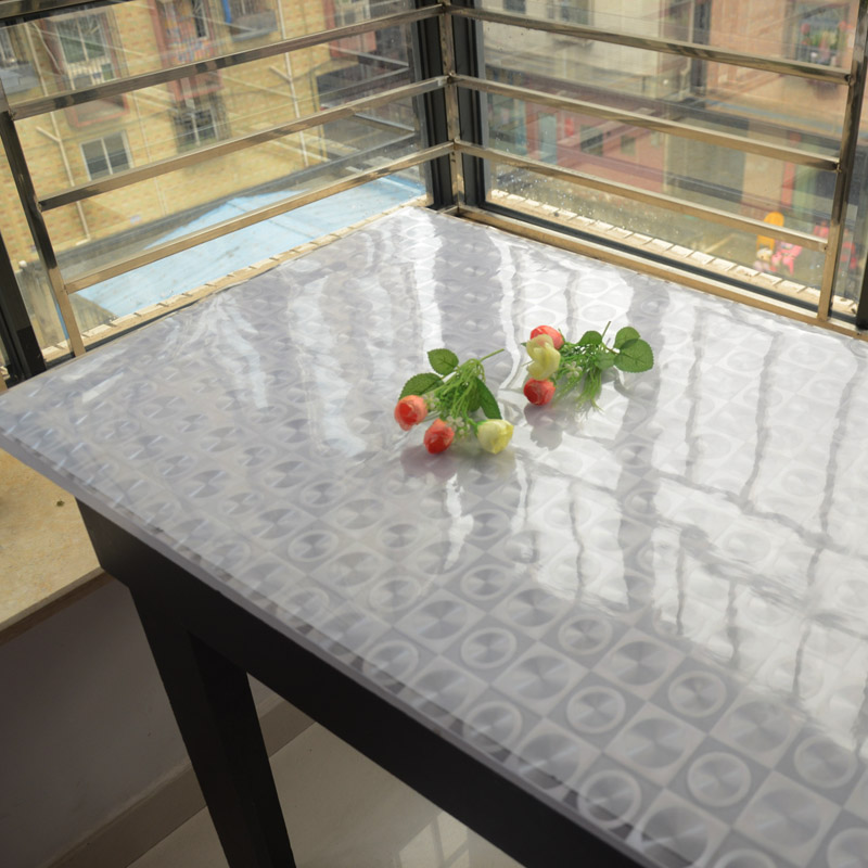 Dining Table Soft Glass Table Cloth Transparent Tablecloth Table Mat  Waterproof Disposable Scrub Crystal Plate Pvc