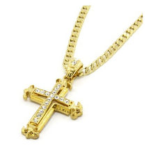 Alloy Sharp Sides Rhinestone Cross Jewelry Pendant Hip-hop Cuban Necklace Chain High Quality colgantes mujer moda(China)
