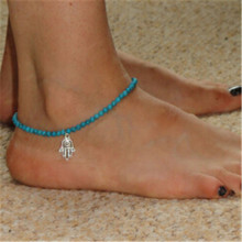 High Quality 1Piece Retro Hand of Fatima Imitation Anklet Bracelet Chain Foot Anklet Turquoise Beads Boho Barefoot Jewelry