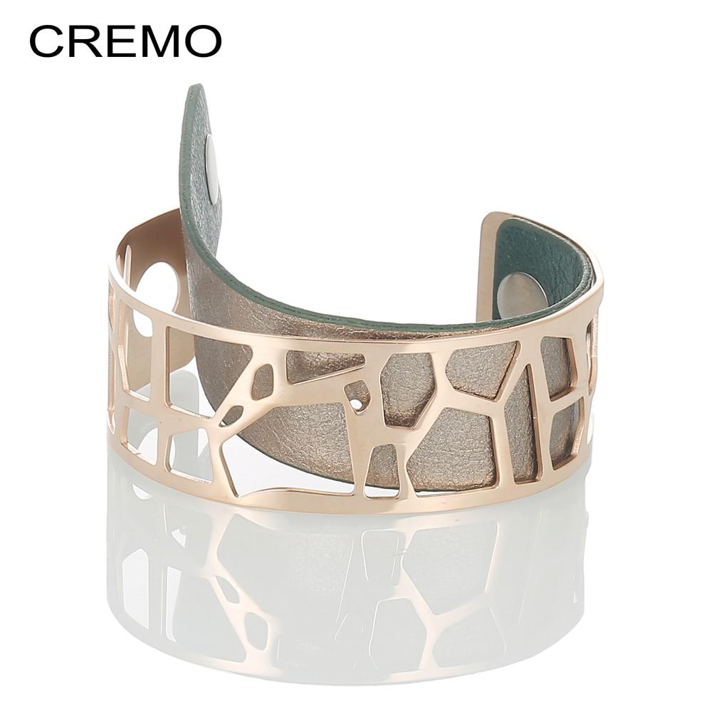 Armreifen Cremo Armbänder & Armreifen Für Frauen Rose Gold Pulseiras Edelstahl Manchette Femme Leder Reversible Giraffe Armbänder & Armreifen
