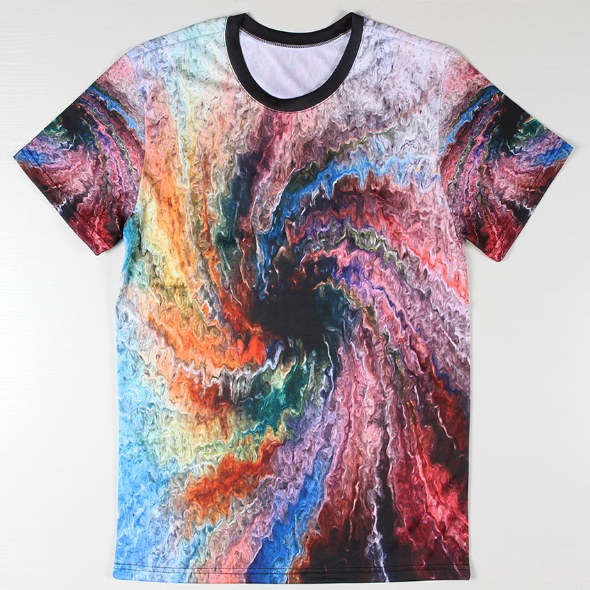 New Promotion Men T Shirts 3d Tie Dye Retro Tees Colorful Twister ...