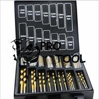 Free Shipping Iron Box Packing 99PCS HSS Twist Drill Bits Set 1 5 10mm Titanium Coated
