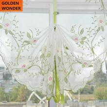 New Peony Pastoral Balloon Curtains Embroidery Window Pulling Curtain For Living Room Pink and White