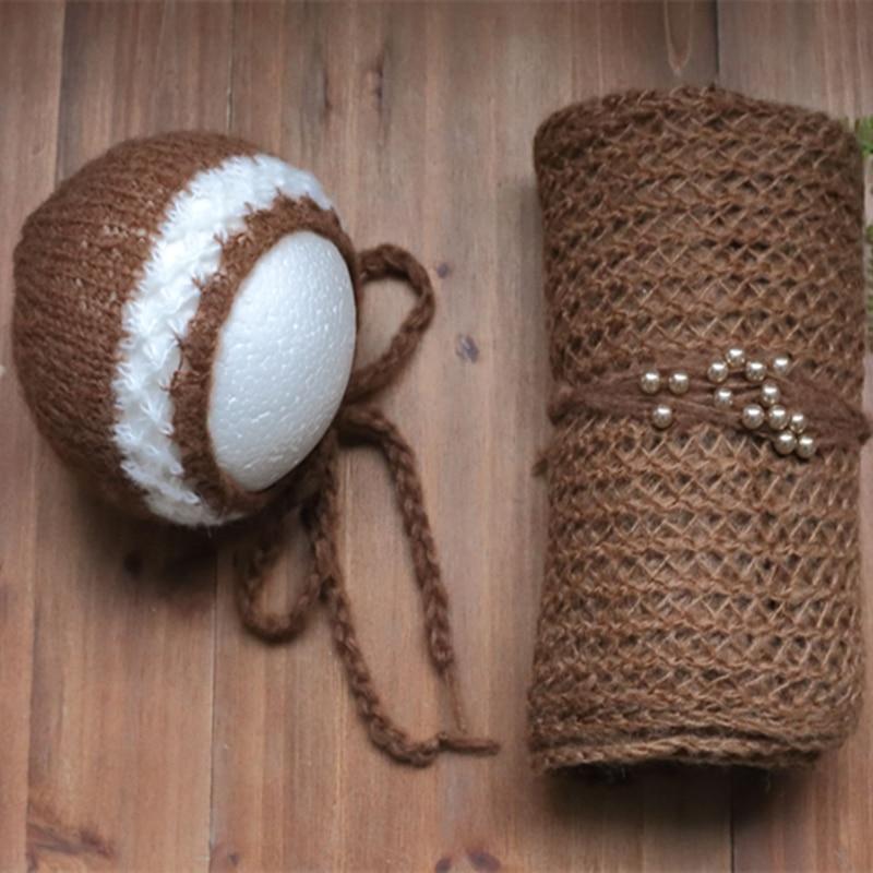 Newborn knit mohair wrap Baby ruffle bonnet and headband set Newborn photography props Baby swaddle blanket Prop