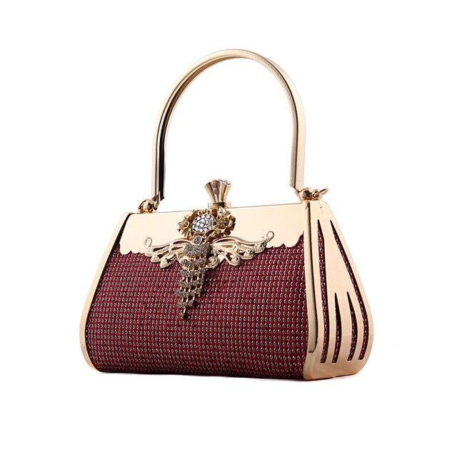 women luxury mini diamond chain tote bags elegant bridal party evening weeding clutches gold shoulder messenger purse bag  446t