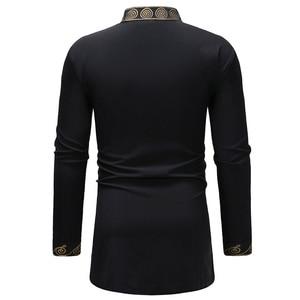 Image 3 - אופנתי האפריקאי דאשיקי T חולצת גברים ארוך במיוחד הנלי צוואר לכשכש סגנון Mens חולצות 2018 Slim Fit ארוך שרוול Harajuku חולצות Tees