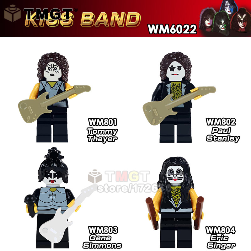 50PCS LOT Kiss Band Tommy Thayer Paul Stanley Gene Simmons Freddie Mercury Building Blocks Toys For
