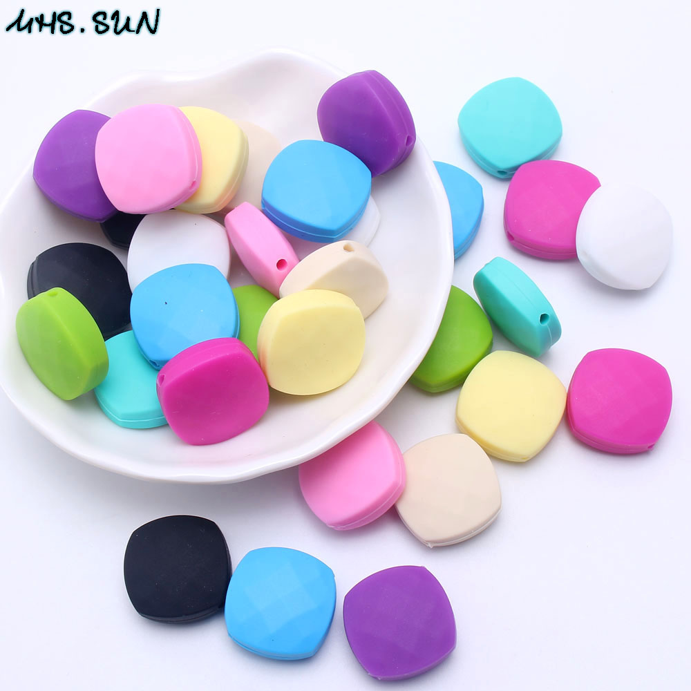 50Pcs Chunky Olive Silicone Teething Beads DIY Baby Chew Jewelry Teether Making