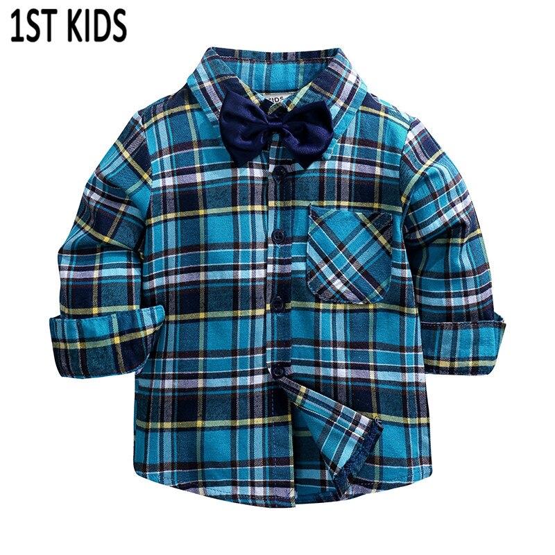 Boys Shirt Children Clothes Long-Sleeve Kids Cotton Plaid for Fashion New England School-Trend