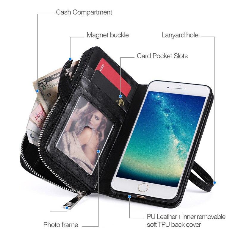 För iPhone 6s Case Funda Lyxplånbok Flip Lädermagnet Avtagbar - Reservdelar och tillbehör för mobiltelefoner - Foto 2