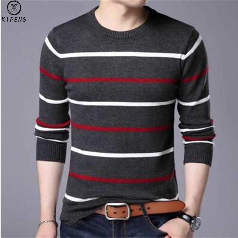 2019 New Autumn Casual Men's Sweater O-Neck Striped Slim Fit Knittwear Mens Sweaters Pullovers Pullover Men Pull Homme M-3XL